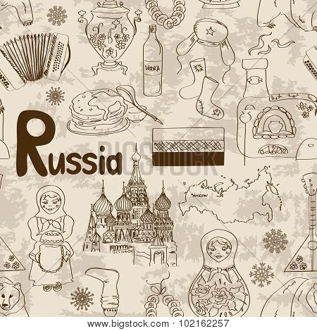 Sketch Russia Seamless Pattern