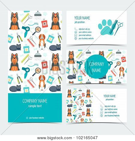 Set Of Flyer, Brochure And Business Cards For Animal Grooming. Pet Care. Set Of Promotional Products