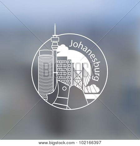 Minimalist Round Icon Of Johanesburg, South Africa. Flat One Line Style. Linear Web Logo On Blurred