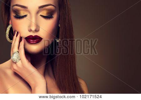 Luxury fashion style, nails manicure, cosmetics ,make-up .beautiful   teeth    white smile , earring