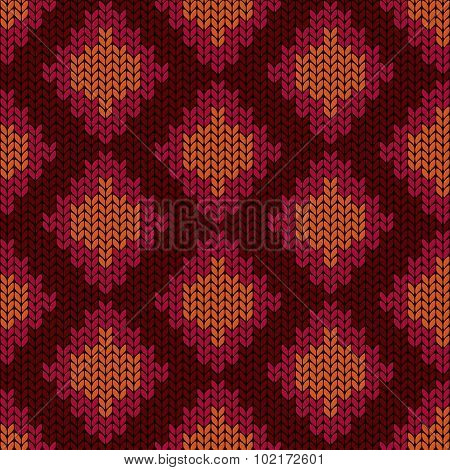 Ethnic knitted seamless pattern with rhombus. Knitted background. poster
