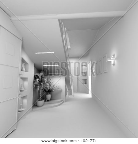 Blank Modern Interior Of The Privat Apartment (3D)