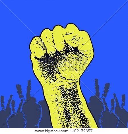 Hand Up Proletarian Revolution. Fist of revolution. Human hand up. Design element. JPEG version.