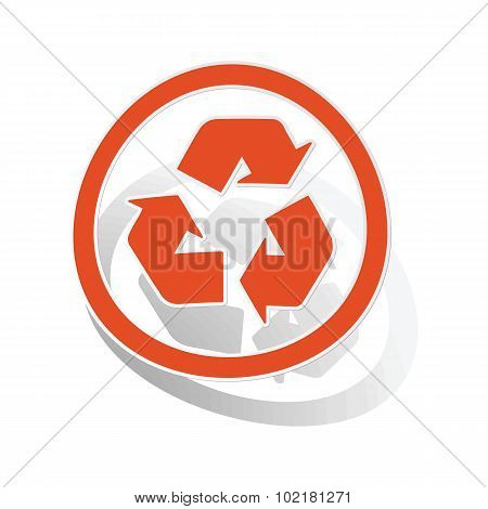 Recycling sign sticker, orange