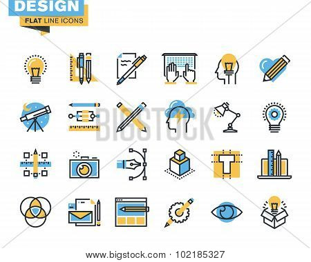 Flat line icon pack for design