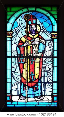 PAKRAC, CROATIA - MAY 07: Saint Methodius, stained glass window in the Church of the Assumption of the Blessed Virgin Mary in Pakrac, Croatia on May 07, 2015