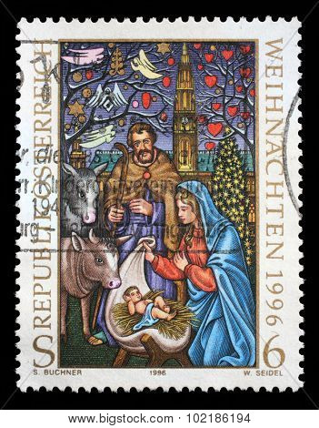 AUSTRIA - CIRCA 1996: Christmas stamp printed by Austria, shows Birth of Jesus, circa 1996