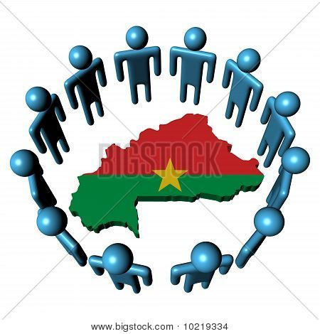 People Around Burkina Faso Map Flag