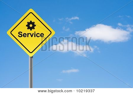 Sign Service Sky Background.