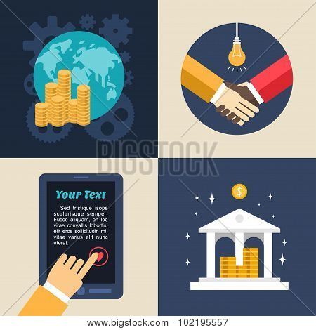 Set Of Flat Design Vector Business Illustrations. Global Economics, Bank, Partnership, Adding To Fav
