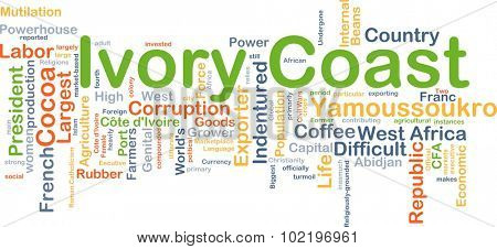 Background concept wordcloud illustration of Ivory Coast poster