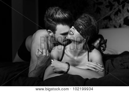 Sexy Couple Foreplay In Bedroom At Night Black And White