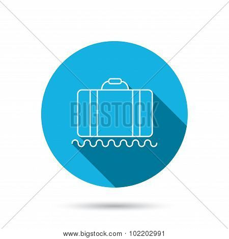 Baggage icon. Luggage sign. Blue flat circle button with shadow. Vector poster