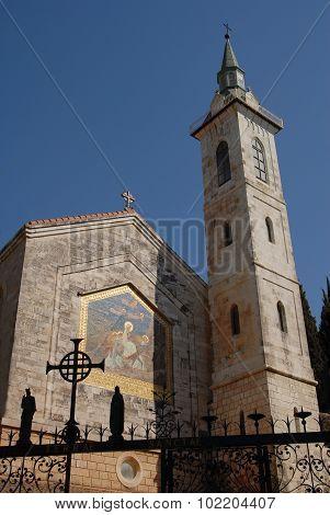 The Church of the Visitation on Ein Karem Jerusalem Israel. poster