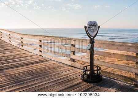 Coin-Operated Sightseeing Binoculars on Pier