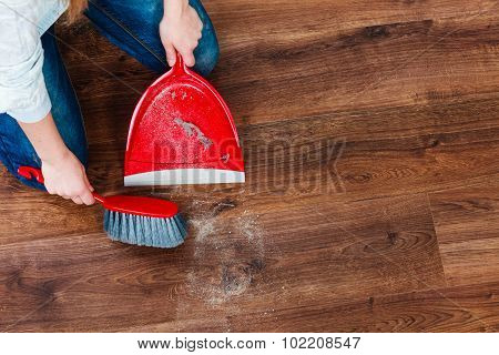 Cleanup housework concept. Closeup cleaning woman sweeping wooden floor with red small whisk broom and dustpan indoor poster