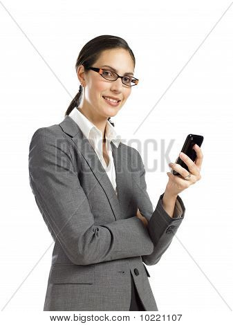 Young Confident Business Woman Holding A Cellphone 2