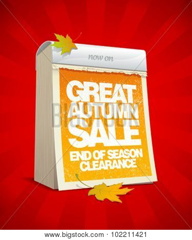 Great autumn sale design in form of tear-off calendar. Eps10