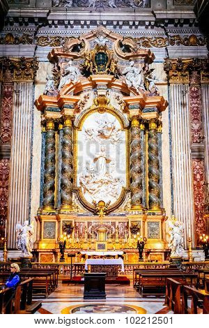 Rome, Italy - October 29: The Interior Of The Church Of St. Ignatius Of Loyola