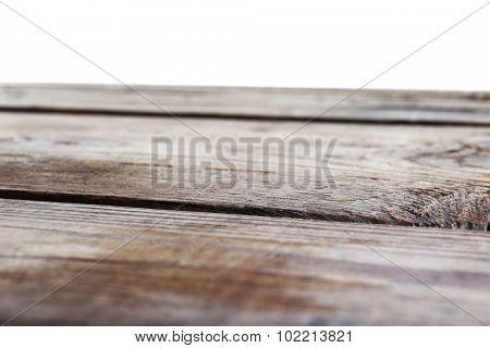 Wooden desk on white background