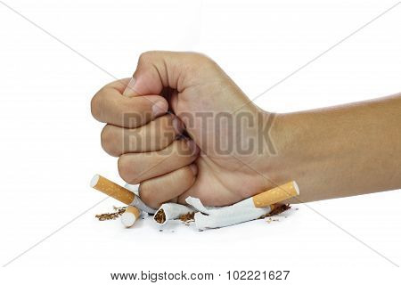Fist Breaking Cigarette Stop Smoking Concept On White Background