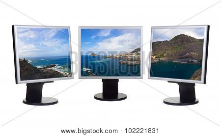Garachico in Tenerife island (Canary) in computer screens isolated on white background