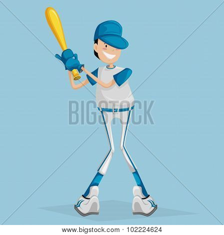Cartoon ballplayer. Vector illustration boy with a baseball bat