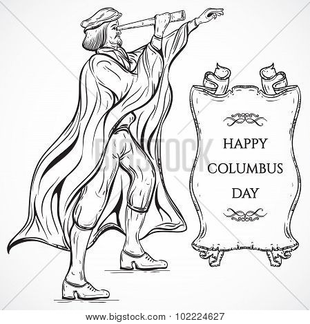 Man with Telescope and ribbon banner.Vintage poster Columbus Day. Vector hand drawn illustration. Re
