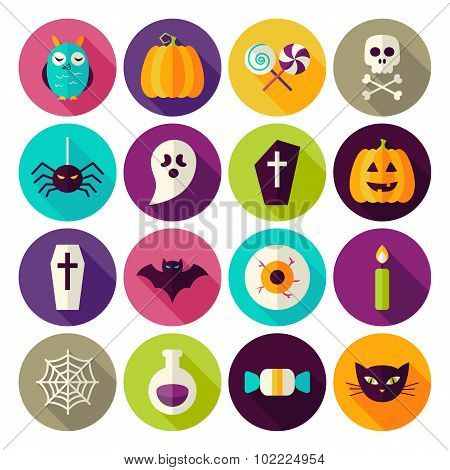 Flat Halloween Trick Or Treat Circle Icons Set With Long Shadow