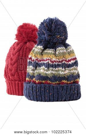 Two Chunky Knit Bobble Hats