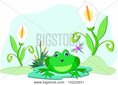 Here is a cute Frog sitting on a pod among some white lilies. poster