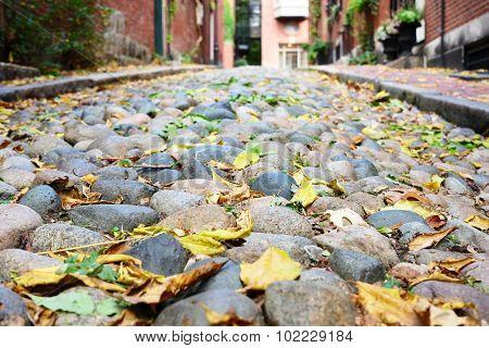 Historic Acorn Street at  Beacon Hill neighborhood, Boston, USA.