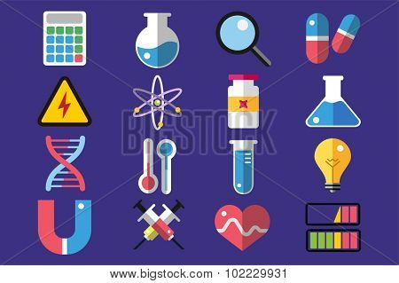 Science lab icons isolated. Science vector icons set. Education, laboratory, lab icons, science icons, microscope. Molecular symbols, atom, planet, chemistry vector icons. Technology vector icons