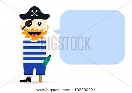 Halloween captain pirate character costume isolated vector silhouette. Cartoon halloween captain sailor pirate cartoon flat. Halloween pirate costume character, comic bubble quote. Monster costume