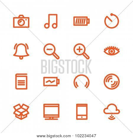 Fat Line Icon set for web and mobile. Modern minimalistic flat design elements of Media Service, Entertaiment and Gadgets
