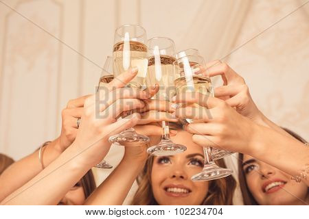 Cheers! Girls Celebrate A Bachelorette Party Of Bride.