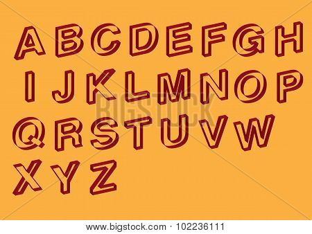 Slanted Outline Vector Font Design