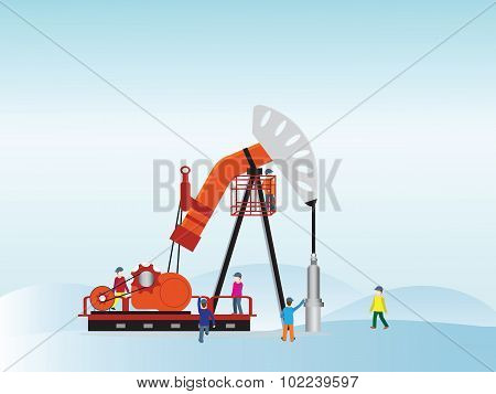 Oil Pump With Oil Worker.