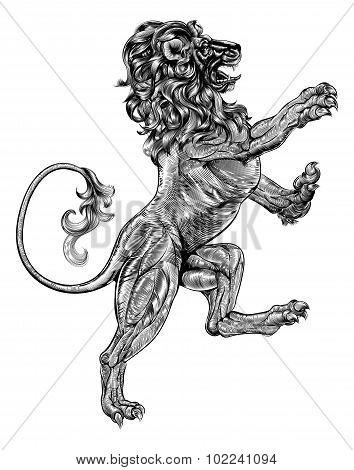 Woodblock Style Heraldic Lion