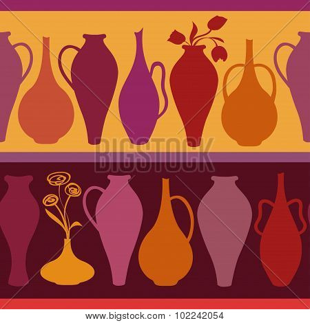 Seamless Pattern Of Vases.