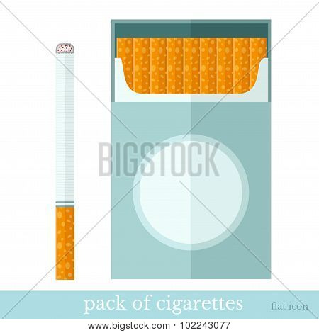 flat template open pack of cigarettes and one cigarette near