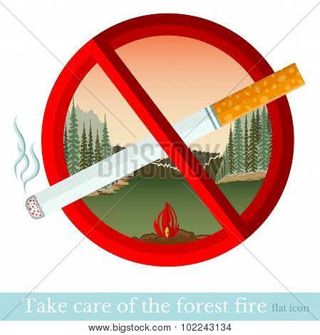No smoking in forest park. Red circle with cigarette