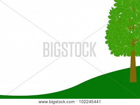 Border Landscape On White With Tree On The Right