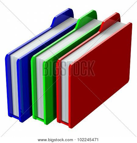 Colored Folders Isolated On White Background