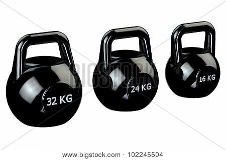 Black Kettlebells  Isolated On White Background.