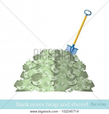 flat  heap of bank note bill with shove