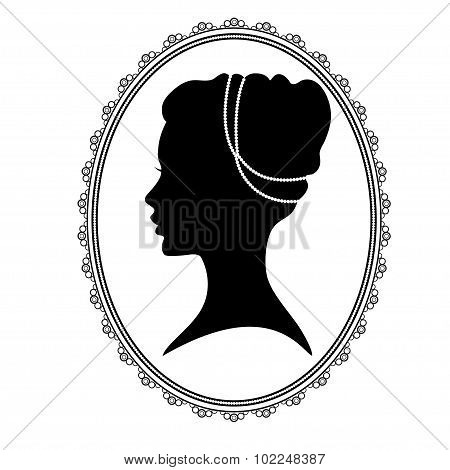 Black silhouette  of a woman's head