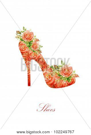 Silhouette of a women shoes, from water color roses.