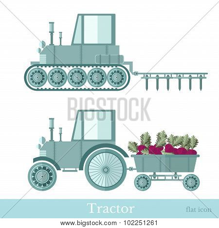 flat agricultural tractor with trailer and plowing station