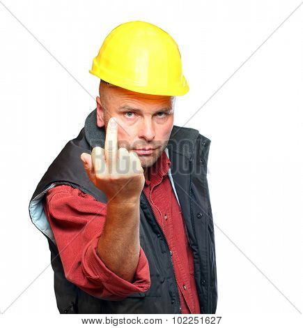 Construction worker show middle finger isolated on white background. Concept about angry or furious manual worker. poster